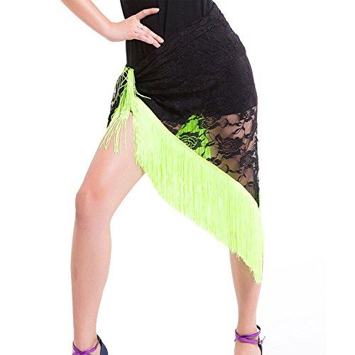 dentelle Cha du Ventre Triangle Glands Hanche Tribal jupe Cha Femme Noir ceinture ESHOO Tango en Danse Vert Echarpe PO0nqg