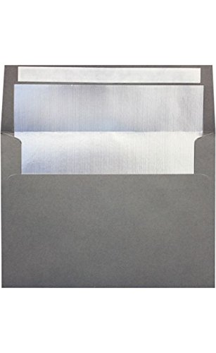 Envelopes Store A7 Foil Lined Invitation Envelopes with Peel and Press, 5.25-Inch-by-7.25-Inch, Smoke with Silver LUX Lining 50-Pack (FLWH4880-04-50)