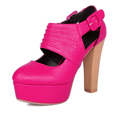 VogueZone009 Womens Closed Round Toe High Heel Platform Chunky Heels PU Soft Material Solid Sandals RoseRed