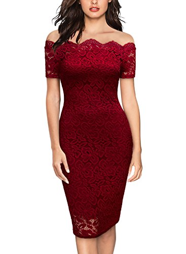 Miusol Women's Vintage Boat Neck Flare Lace Cocktail Pencil Dress,X-Large,Red ()