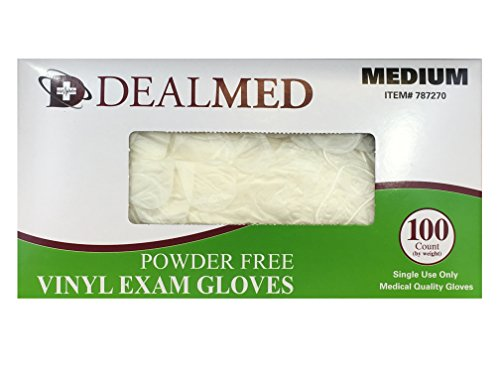 Disposable Vinyl Exam Powder Free Gloves, 100 Count Size Medium