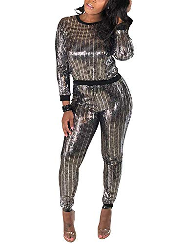 Womens Sexy Sequin Glitter Jumpsuit 2 Piece Party Outfit Set Tracksuit Silver ()