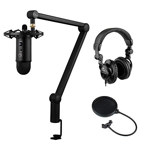 Blue Yeticaster Professional Broadcast Bundle with HPC-A30 Studio Monitor Headphones and Pop Filter Kit