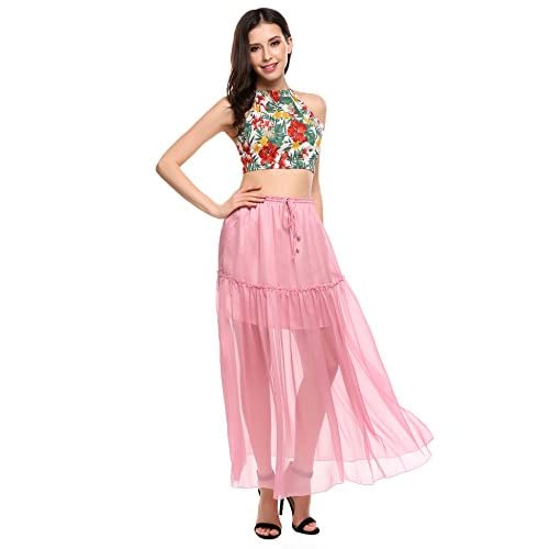 57b8b543f7341 Zeagoo Women Chiffon Maxi Beach Skirt Ruffle Elastic Drawstring Waist Beach  Cover Up Skirts hot sale