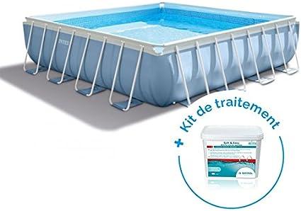 RAVIDAY Pack piscina tubular cuadrada Intex Prism Frame 4,88 x 4 ...