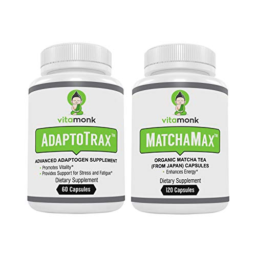 Adaptogen Blend and Matcha Capsules Combo - Mr. Zen Stack - Organic Japanese Matcha Pills and our Advanced Adaptogens Supplement Complex with KSM-66 Ashwagandha, Rhodiola, Cordyceps, Holy Basil + More
