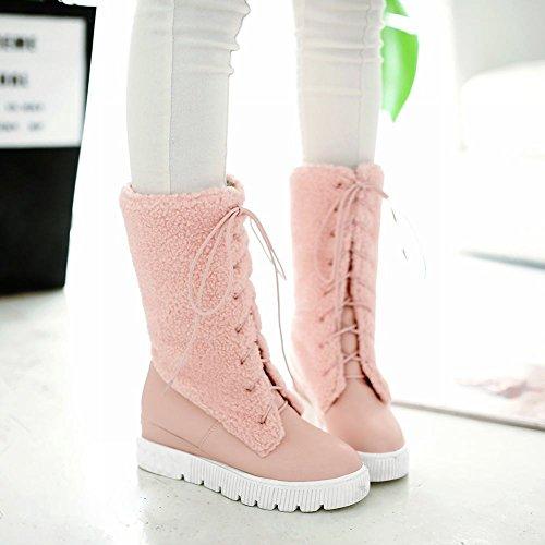 Show Shine Womens Fashion Platform Wedge Heel Short Boots Pink mMjZA