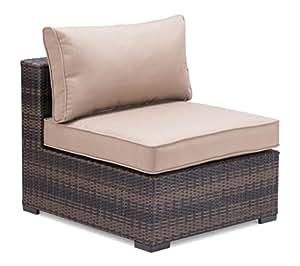 Modern Outdoor Wicker Chair, Brown Aluminum Frame