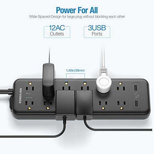 Power Strip Surge Protector, POWERADD 12 Outlets USB C PD18W Fast Charging Port 2 USB Smart Port(5V/2.4A), 6ft Extension Cord, Wall Mountable for Home Office Computer TV