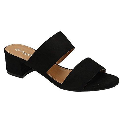 Anne Michelle Womens/Ladies Mule Strap Open Toe Shoes Black uWL2zW41Jg