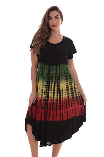 Riviera Sun Rasta Short Sleeve Umbrella Dresses for Women 21930-XL