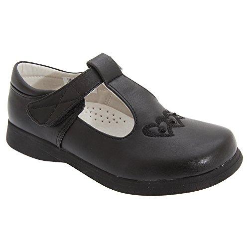 Price comparison product image Boulevard Big Girls Touch Fastening T Bar Shoes (10 Child US) (Black Matt)
