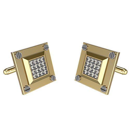 10k Yellow Gold Cufflinks (Yellow Gold Diamond Cufflinks For Men in 10K Gold and 0.50Ct Diamonds)