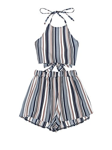 July A Women's 2 Piece Outfits Halter Sleeveless Crop Cami Top and Shorts Set Blue S (Set Cute 2 Piece)