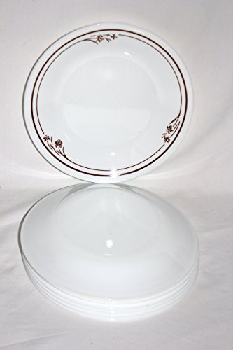 SET OF 7 - Vintage Corning Corelle BROWN MELODY Glass Dessert Side Dish Plates Melody Dessert