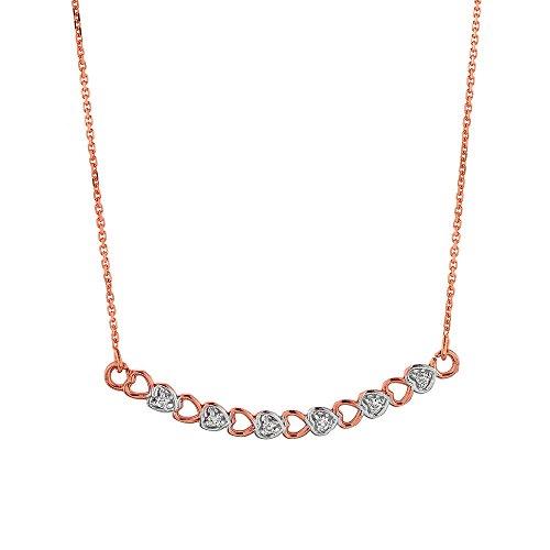 14k Rose Gold Diamond Hearts Charm Curved Bar Pendant Necklace, - Necklace White Diamond Curved Gold