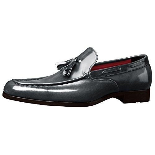 Zapatos Hechos A Mano Para Hombre Itailor: Mocasines Bordados Gruesos Grises Pulidos