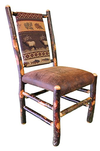 Rustic Hickory Dining Chair - Distressed Faux Leather / Elk Run (Hickory Chair Furniture)