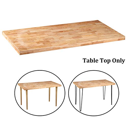 Sumerflos Home Office Desk, Workbench - 47''x 23.5'' Block Solid Pine Wood Table Top - with Pre-drilled Holes & Easy Assembly - Perfect for Computer Desk/Writing Desk/Dining Table (Table Top Only)