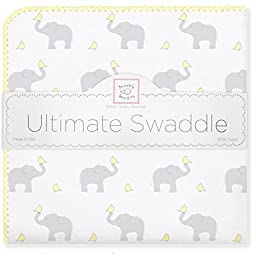 SwaddleDesigns Ultimate Swaddle Blanket, Made in USA, Premium Cotton Flannel, Elephant and Pastel Yellow Chickies