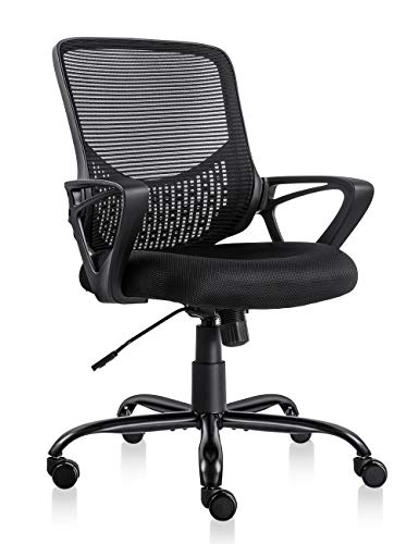 PTO Furniture Ergonomic Office Chair Lumbar Support Mesh Chair Computer Desk Task Chair with Armrests (Black)