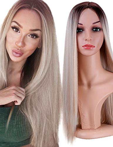 Fani Wigs Long Straight Blond Ombre Wigs for Women Dark Roots Middle Part Synthetic Full Wig Cosplay Wigs with Free Wig Cap (Ash Blonde) -