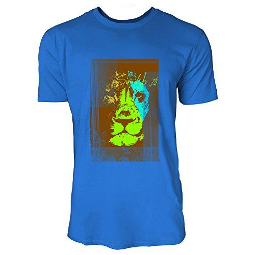 SINUS ART® Löwenkopf in jamaikanischen Farben Herren T-Shirts in Blau Fun Shirt mit tollen Aufdruck