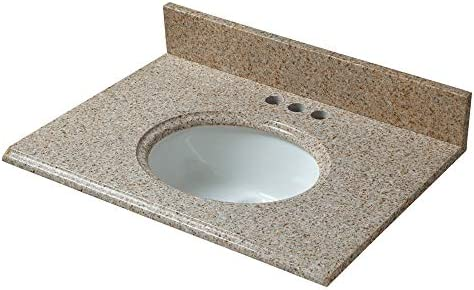 CAHABA CAVT0133 25 x 19 Beige Granite Vanity Top with oval bowl and 4 faucet spread