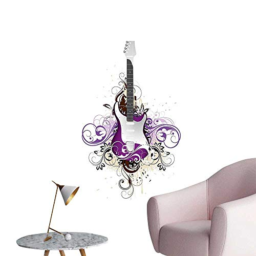 Vinyl Wall Stickers Bass Guitar Surrounded by Swirled Floral Lines Rock Electronic Design Purple Light Grey Perfectly Decorated,12