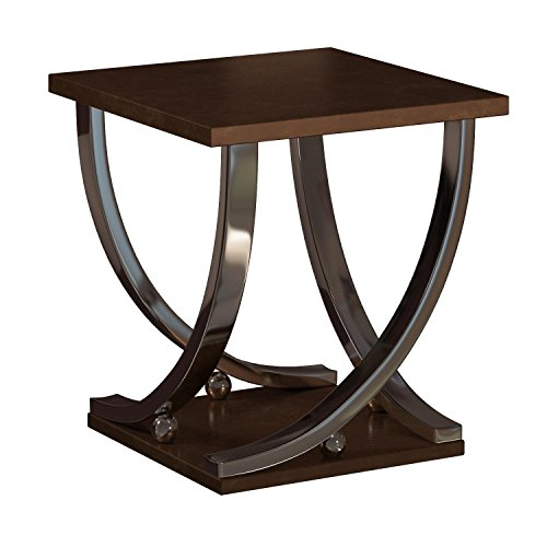 (Ashley Furniture Signature Design - Rollins End Table - Contemporary Style Accent Table - Dark Brown With Chrome Base)