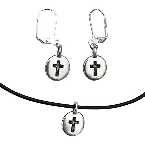 DragonWeave Cross Circle Charm Necklace & Earring Set, Silver Plated Black Leather Adjustable 16-18