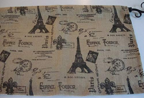 (Valance Paris Eiffel Tower Theme Burlap Custom Made Window Treatment)