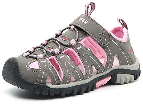 - BODATU Girls' Summer Outdoor Beach Sports Closed-Toe Sandals(Toddler/Little Kid/Big Kid)(27, Pink)
