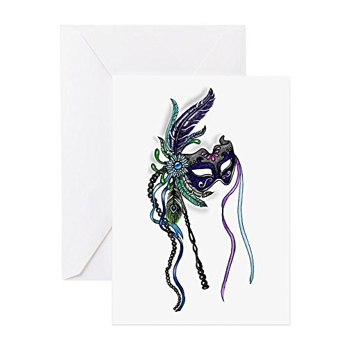 CafePress - Decorative Mardi Gras Mask Greeting Cards - Greeting Card (20-pack), Note Card with Blank Inside, Birthday Card Matte