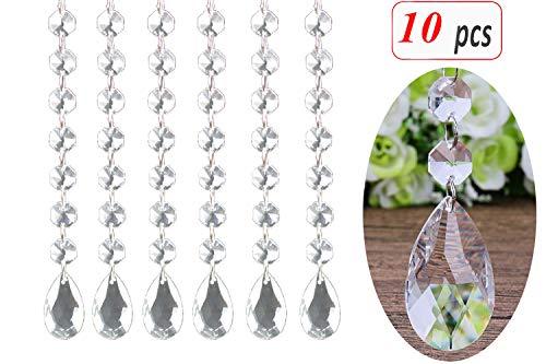 Aobear 10Pcs 1Ft Crystal Pendants,Clear Teardrop Chandelier Crystal Pendants Glass Pendants Beads