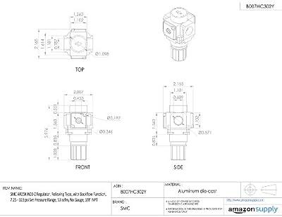 """SMC AR25K-N03-Z Regulator, Relieving Type, with Backflow Function, 7.25 - 123 psi Set Pressure Range, 53 scfm, No Gauge, 3/8"""" NPT"""