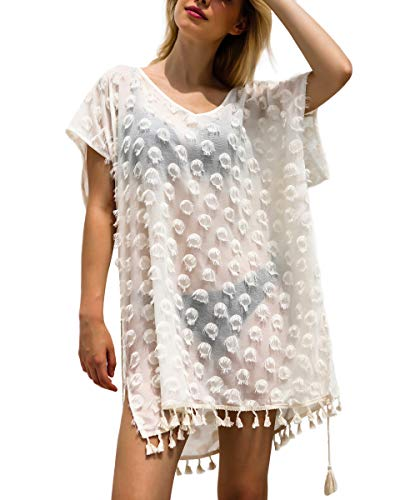 Amatory Beach Coverup Cover Up Women Summer Swim Cover-up Bathing Beachwear Swimwear (Creamy-White Large)