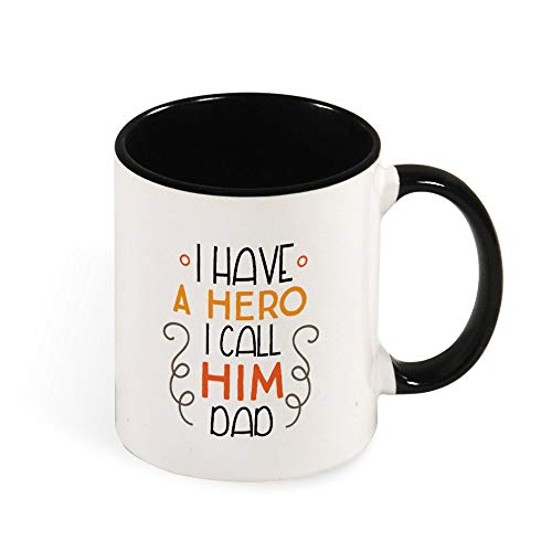 DKISEE Colorful I Have A Hero I Call Him Dad Coffee Mug Novelty 11oz Ceramic Mug Cup Birthday Christmas Anniversary Gag Gifts Idea - Black - Black