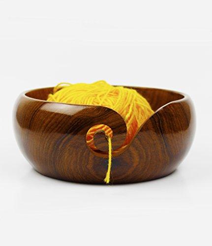 Nagina International Premium Rosewood Crafted Portable Yarn Storage Functional Bowl With Spiral Yarn Dispenser | Crocheting & Stitching Accessories (Medium) by Nagina International