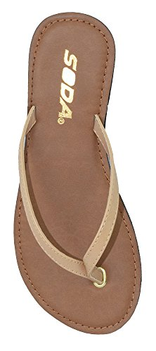(SODA Shoes Women Flip Flops Basic Plain Sandals Strap Casual Beach Thongs FELER Nude Beige 6.5)