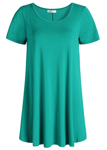 Esenchel Women's Tunic Top Casual T Shirt for Leggings 4X Teal Green]()