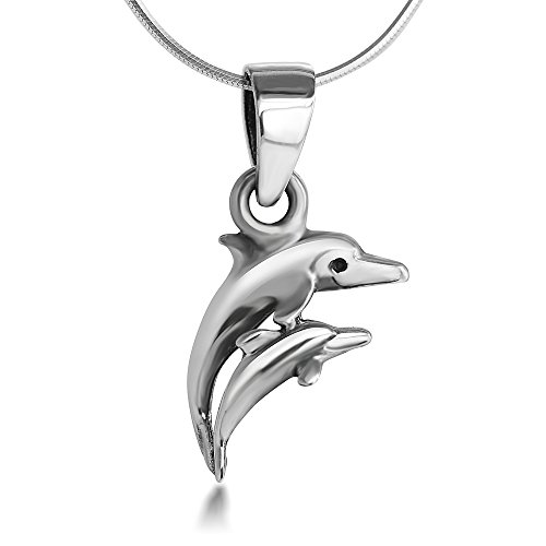 Baby Dolphin Charm - Sterling Silver 15 mm Mom and Baby Dolphin Charm Pendant Necklace, 18'' Snake Chain