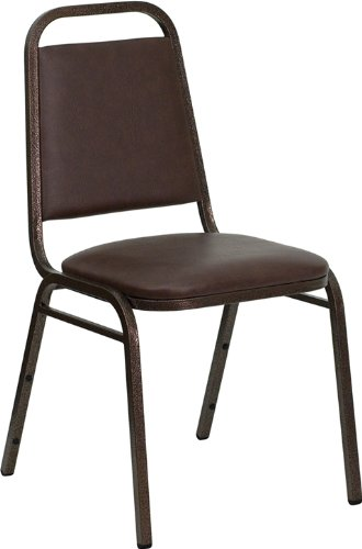 - Flash Furniture HERCULES Series Trapezoidal Back Stacking Banquet Chair in Brown Vinyl - Copper Vein Frame