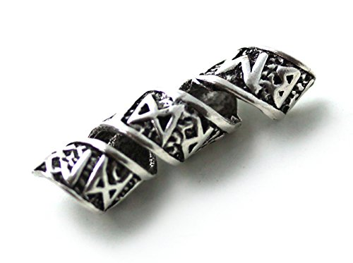 925 Sterling Silver Norse Viking Celtic Runes Beard Rings, Dreadlock Pirate Hair Beads, Pagan (Lord Of The Rings Dwarf Costume)