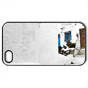 White and blue 1 - Case Cover for iPhone 4 and 4s (Houses Series, Watercolor style, Black)