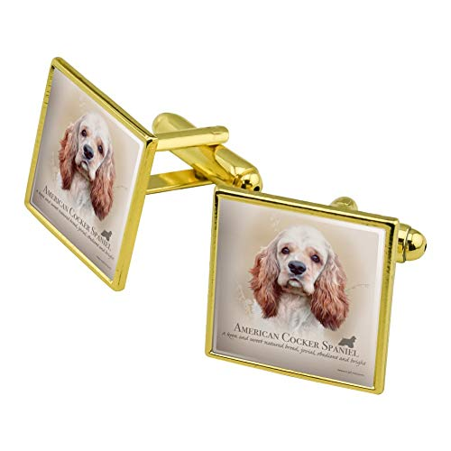 Graphics and More American Cocker Spaniel Dog Breed Square Cufflink Set Gold Color