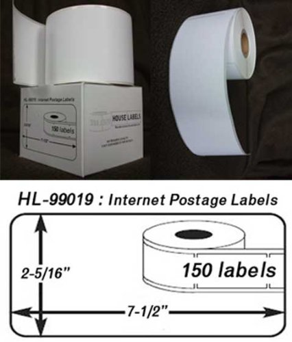 2 Rolls; 150 Labels per Roll of DYMO-Compatible 99019 1-Part Internet Postage Labels (2-5/16'' x 7-1/2'') -- BPA Free! by HouseLabels (Image #2)