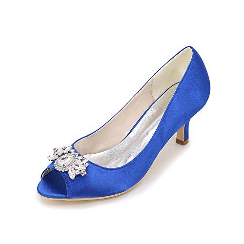 Otoño Rhinestone Tacones Fiesta Estilete Sliver amp; Azul Púrpura Blue Mujer Primavera De Evening L Casual Seda Boda Tacón Verano Rojo Blanco yc qXpZ6xB