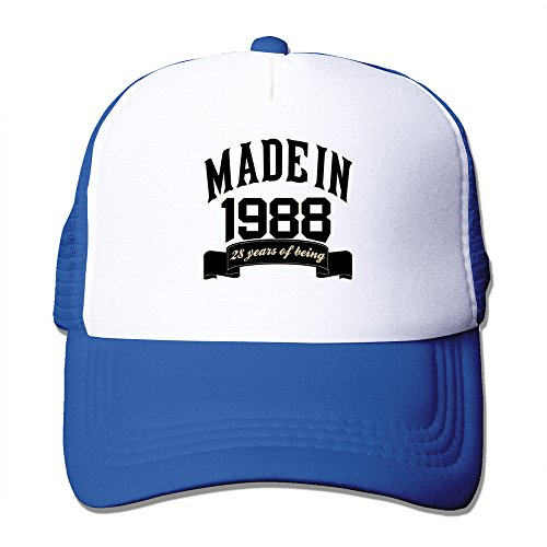 Made In 1988 28 Years Of Being 28th Birthday RoyalBlue Adjustable Snapback Mesh Hat Unisex