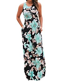 d3ebb146cb Maxi Dresses for Womens, FORUU Sleeveless Floral Printed Long Dress with  Pockets V Neck Sexy